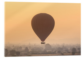Acrylic print  Hot air balloon over temples of Bagan, Myanmar