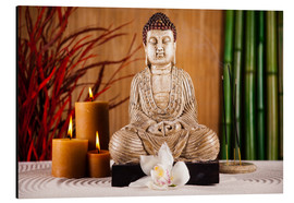 Aluminium print  Buddha with candle