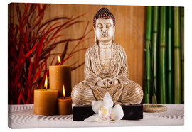 Canvas print  Buddha with candle