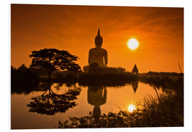 Foam board print  Shinto statue at sunset