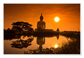 Premium poster  Shinto statue at sunset