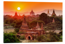 Acrylic print  Temples of Bagan at sunset