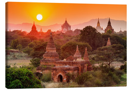 Canvas  Temples of Bagan at sunset