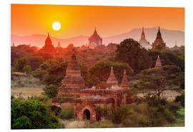 Foam board print  Temples of Bagan at sunset