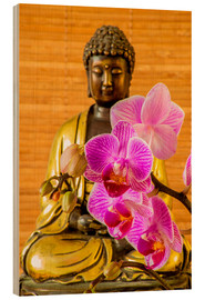 Wood print  Buddha with orchid