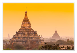 Premium poster Sunrise over ancient Bagan