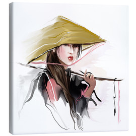 Canvas  Asian fisherwoman