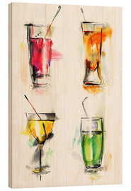 Wood print  Colourful Drinks