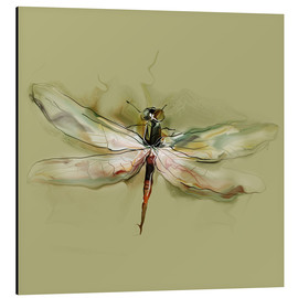 Alu-Dibond  Dragonfly in watercolor
