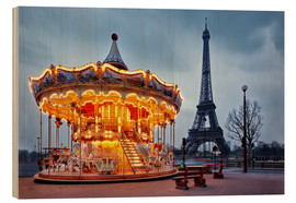 Wood print  Carousel at the Eiffel Tower