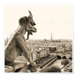 Premium poster  Gargoyle of Notre Dame over Paris