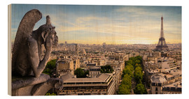 Wood print  View over Paris from Notre Dame
