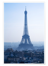 Premium poster Eiffel Tower on blue spring morning