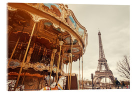 Acrylic print  carousel and the Eiffel Tower at sunset