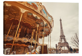 Canvas print  carousel and the Eiffel Tower at sunset