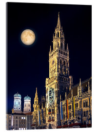 Acrylic print  Night scene from Munich Town Hall