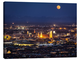 Canvas print  Munich Skyline with yellow full moon