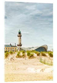 Acrylic print  Old Lighthouse and Teapot Building at Warnemünde