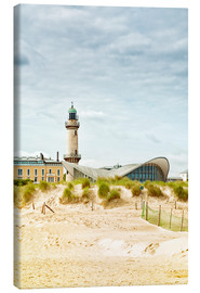 Canvas print  Old lighthouse and Teepott building at Warnemünde