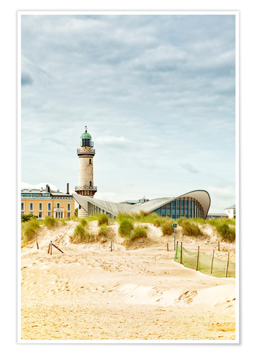 Premium poster Old lighthouse and Teepott building at Warnemünde