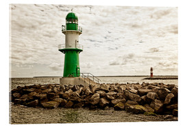Acrylic print  Green and red lighthouse at the harbor entrance of Warnemünde