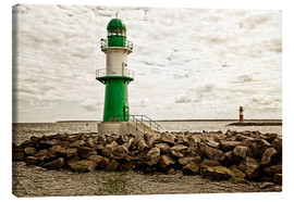 Canvas print  Green and red lighthouse at the harbor entrance of Warnemünde