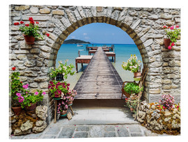 Acrylic print  Ocean view through a stone arch