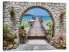 Canvas print  Ocean view through a stone arch