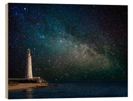 Wood print  Lighthouse in starlight
