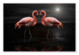 Premium poster  Flamingos at night - Heike Langenkamp
