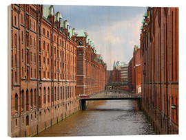Wood print  Speicherstadt of Hamburg