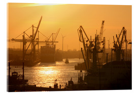 Acrylic print  Morning light in the Hamburg harbor