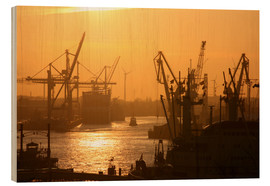 Wood print  Morning light in the Hamburg harbor