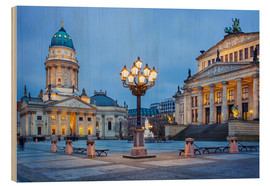 Wood print  Gendarmenmarkt square with street lamp