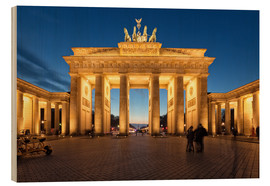 Wood print  Brandenburg gate at dusk