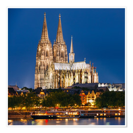 Premium poster  Night view of Cologne Cathedral