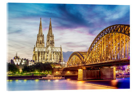 Acrylic glass  Lighted Cathedral in Cologne with Rhine and Bridge