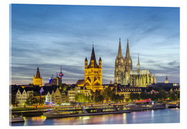 Acrylic print  Overlooking the historic center of Cologne