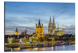 Aluminium print  Overlooking the historic center of Cologne
