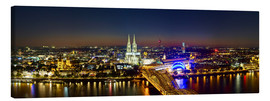 Canvas  A panoramic view of cologne at night