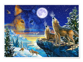 Premium poster Howling Wolves