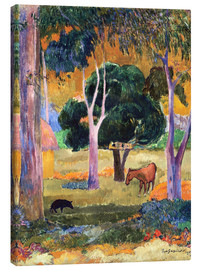 Canvas print  Landscape with a Pig and a Horse (Hiva Oa)   - Paul Gauguin