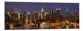 Foam board print  Illuminated night skyline, New York
