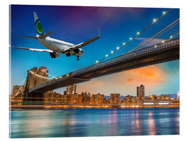 Acrylic print  Aircraft flying over Brooklyn Bridge in New York