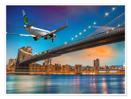 Premium poster Aircraft flying over Brooklyn Bridge in New York
