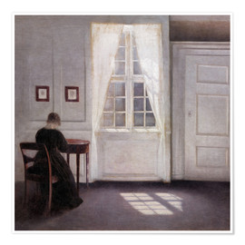 Premium poster  Interior with sunlight on the floor - Vilhelm Hammershøi