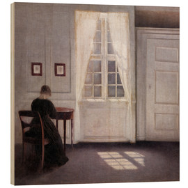 Wood print  Interior with sunlight on the floor - Vilhelm Hammershøi