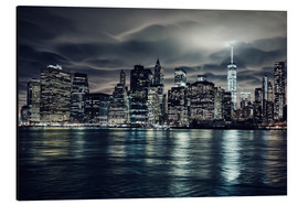 Aluminium print  Manhattan at night, New York City