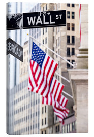 Canvas  Wall street sign with New York Stock Exchange