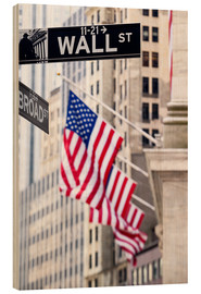 Wood print  Wall street sign, New York Stock Exchange